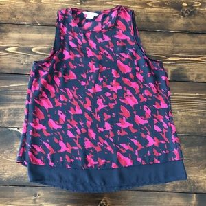 H&M Abstract Print Tiered Sleeveless Top, Size 8